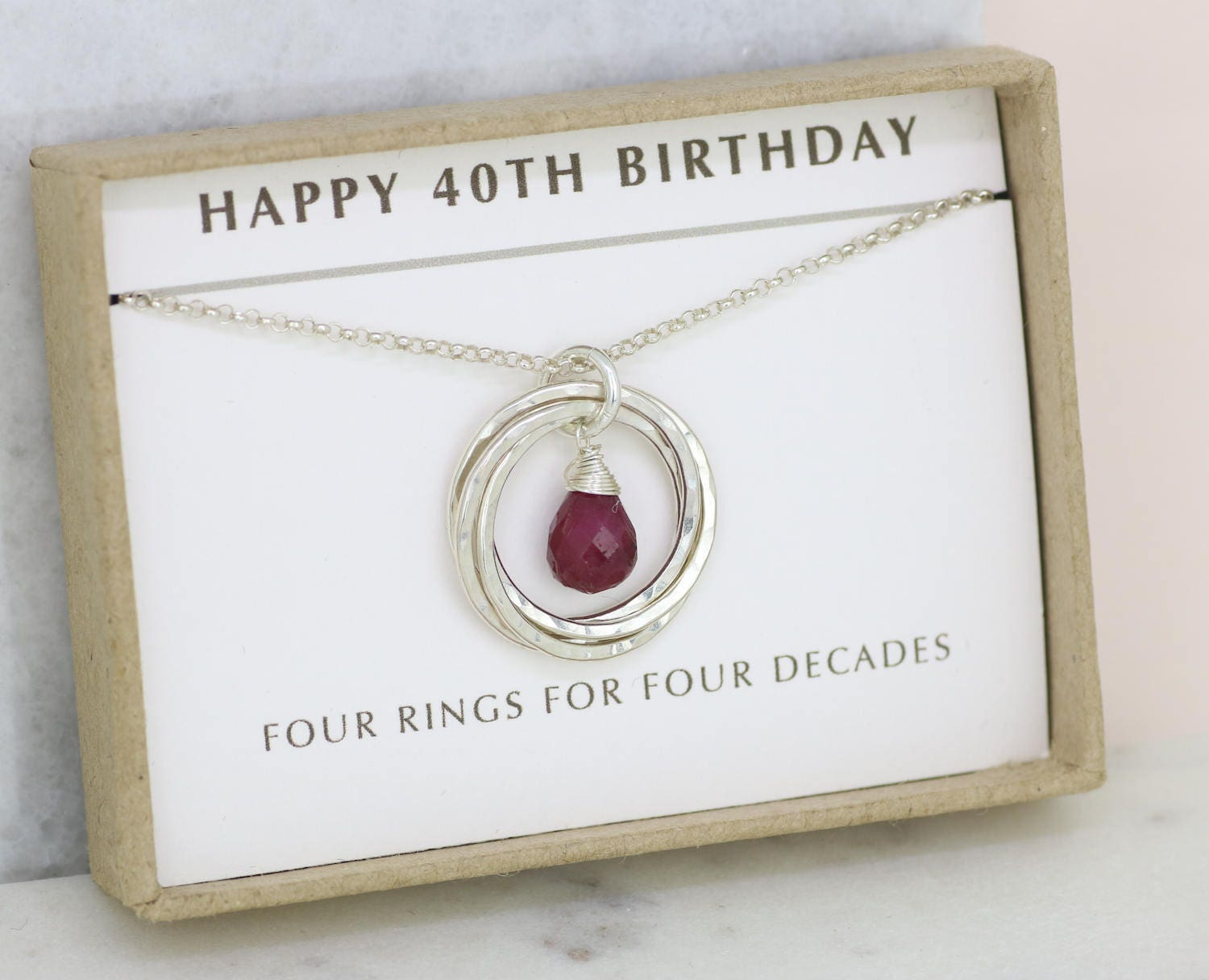 40th birthday gift ruby necklace July birthstone necklace June birthday gift for 40th  Lilia