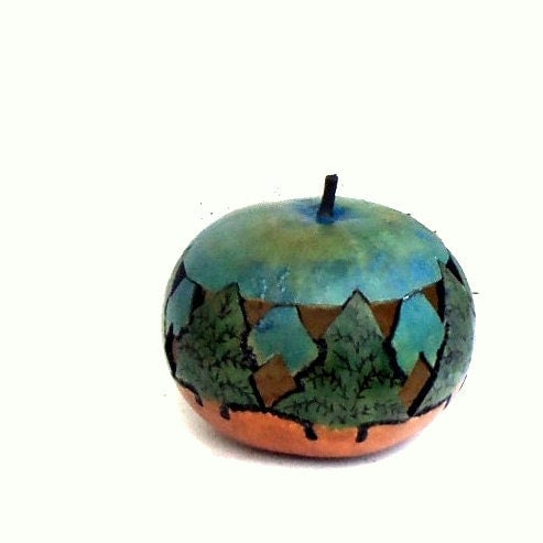Gourd Luminary Woodland Trees Rustic Candle Holder with Lid