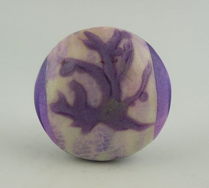 Polymer Clay Bead, Reversible, Purple, White, Green, Art Bead