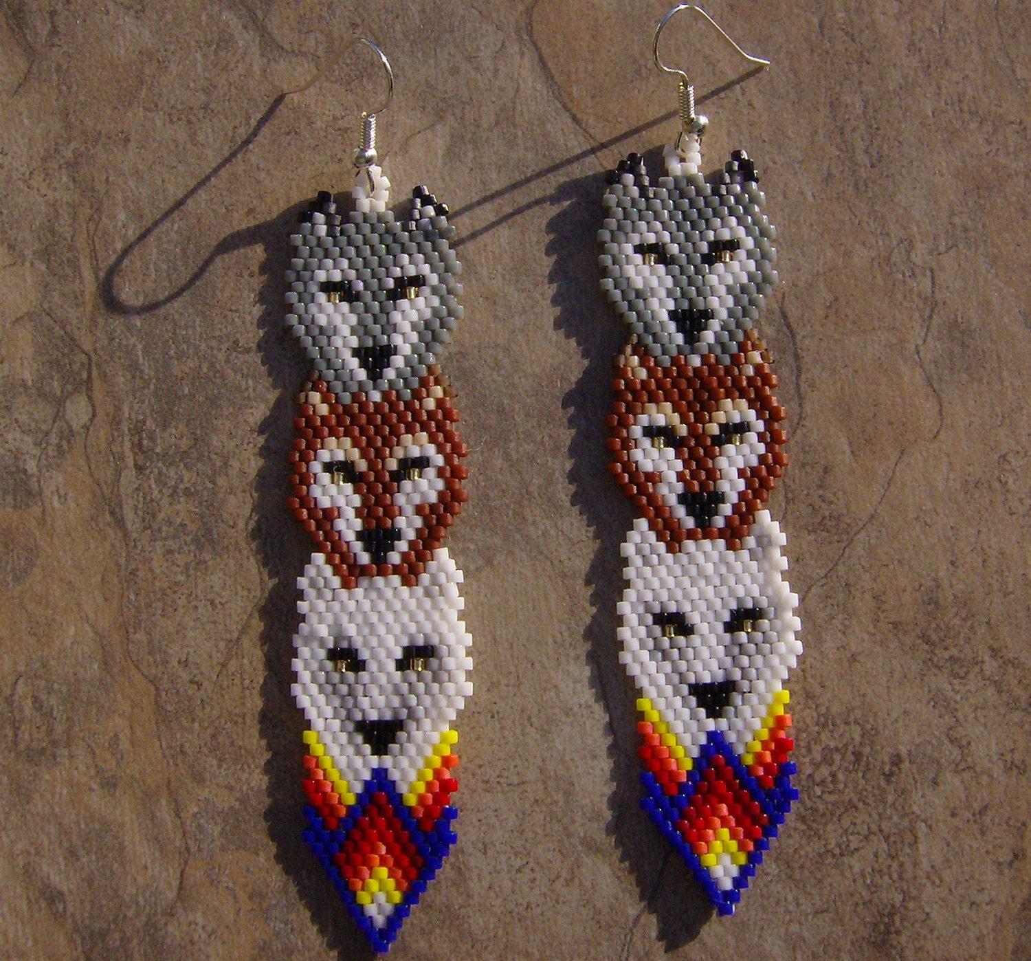 Wolf Totem Earrings Hand Made Seed Beaded Native By Wolflady