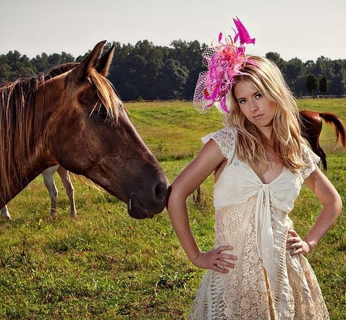 Kentucky Derby, Pink Vintage Hollywood Glamour, Fascinator with Birdcage veil, City-Rural Chic