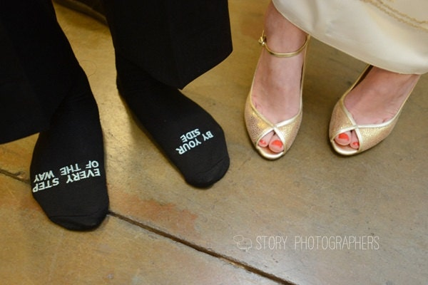 "Father of the Bride socks ""by your side every step of the way"" wedding gift"