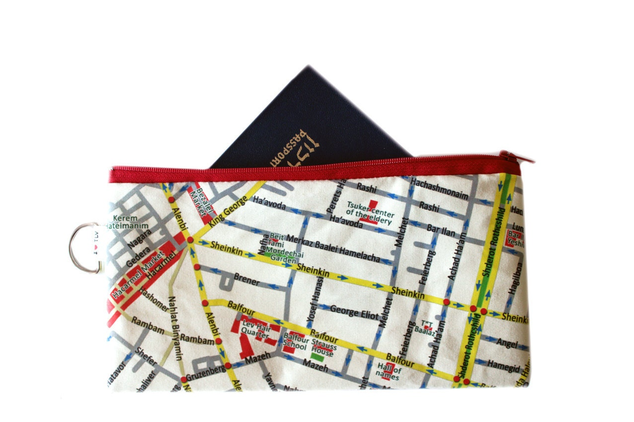 TEL AVIV map travel case - pouch to hold your passport and flying tickets and documents - efratul