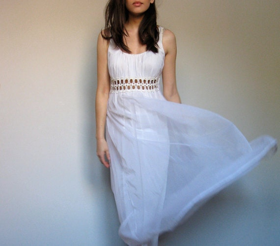 Vintage Slip Dress White Cutout Sheer See Through 70s  - Medium M - MidnightFlight