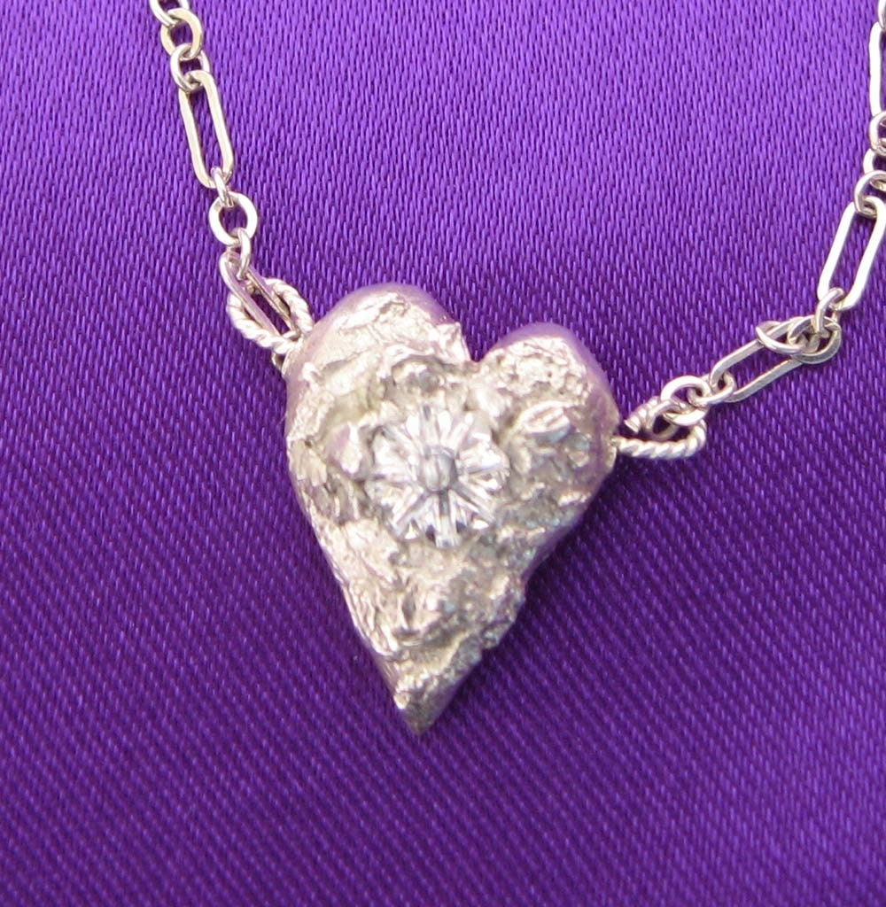 PMC pure silver heart with swarovski ctystal