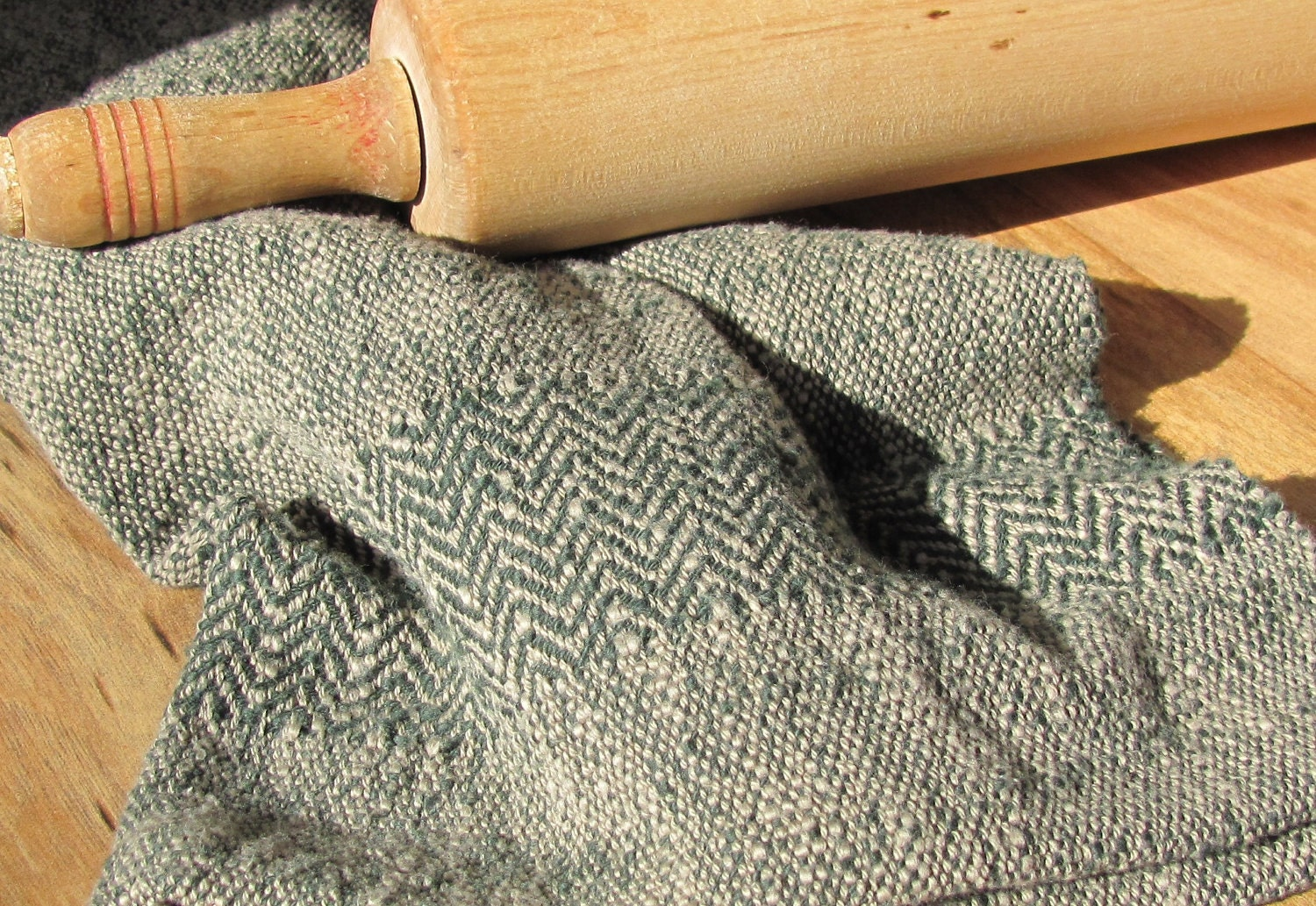 Cottage Kitchen Chef's Hand Towel, Handwoven Green & Khaki Cotton, Herringbone Twill Borders, Traditional Homestyle Cook, Gourmet, Mom - aclhandweaver
