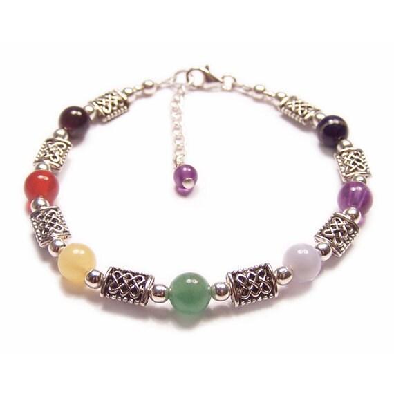 Sterling silver chakra bracelet gemstone celtic knot work  amethyst garnet lapis lazuli rainbow