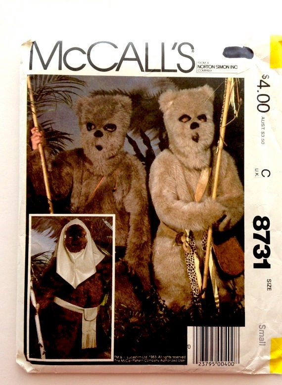1980s McCalls 8731STAR WARS EWOK Costume Childs Size Small 6 8 Chest 25 27