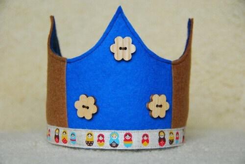Waldorf  Wool Felt Crown -  Matryoshka Blue