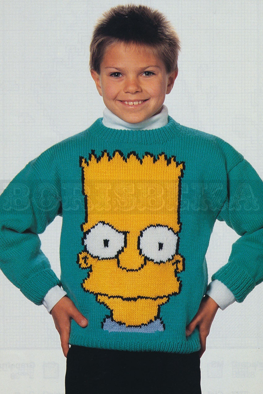 Knitting Pattern For Oxfam Jumper : vintage Adult & Childs BART SIMPSON jumper knitting by borisbeka