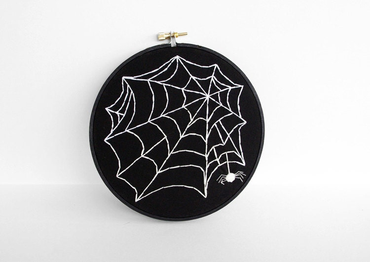 Halloween Decoration, Black and White Embroidery Hoop Halloween Art Spider Web Wall Hanging - 6 inch Embroidery Hoop - sometimesiswirl