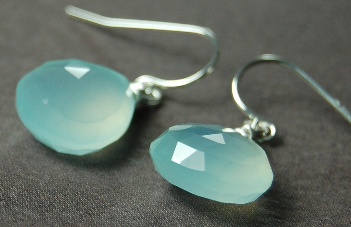 Tidal Pool Earrings of Glowing Light Aqua Chalcedony Briolettes on Sterling Silver LEVERBACKS