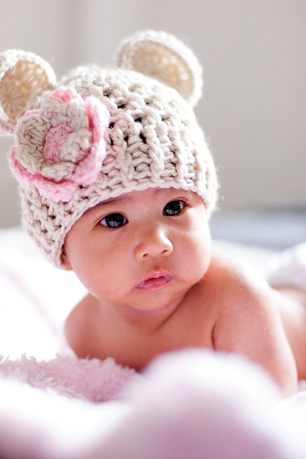 Crochet Newborn Hat : Baby Girl Crochet Hat, Crochet Baby Hat, Beanie Hat with ears and ...