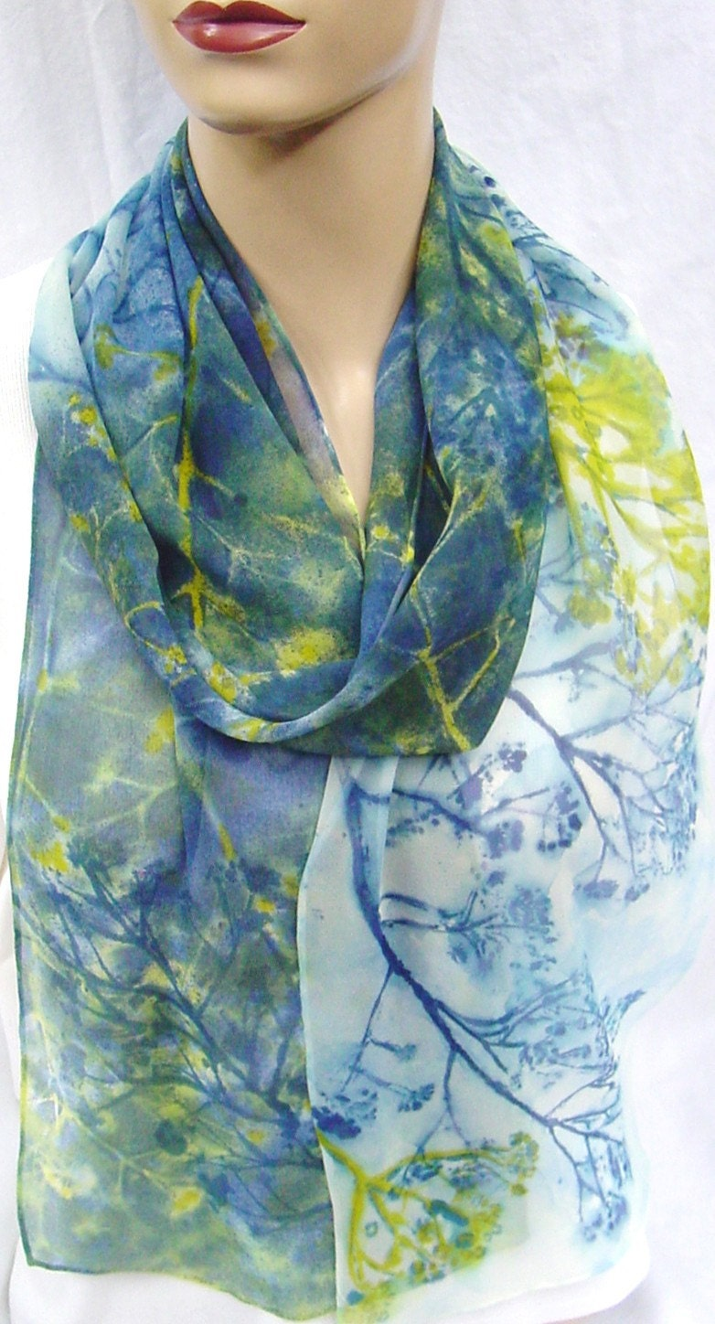extra long silk chiffon scarf Navy Chartreuse Weeds - morgansilk