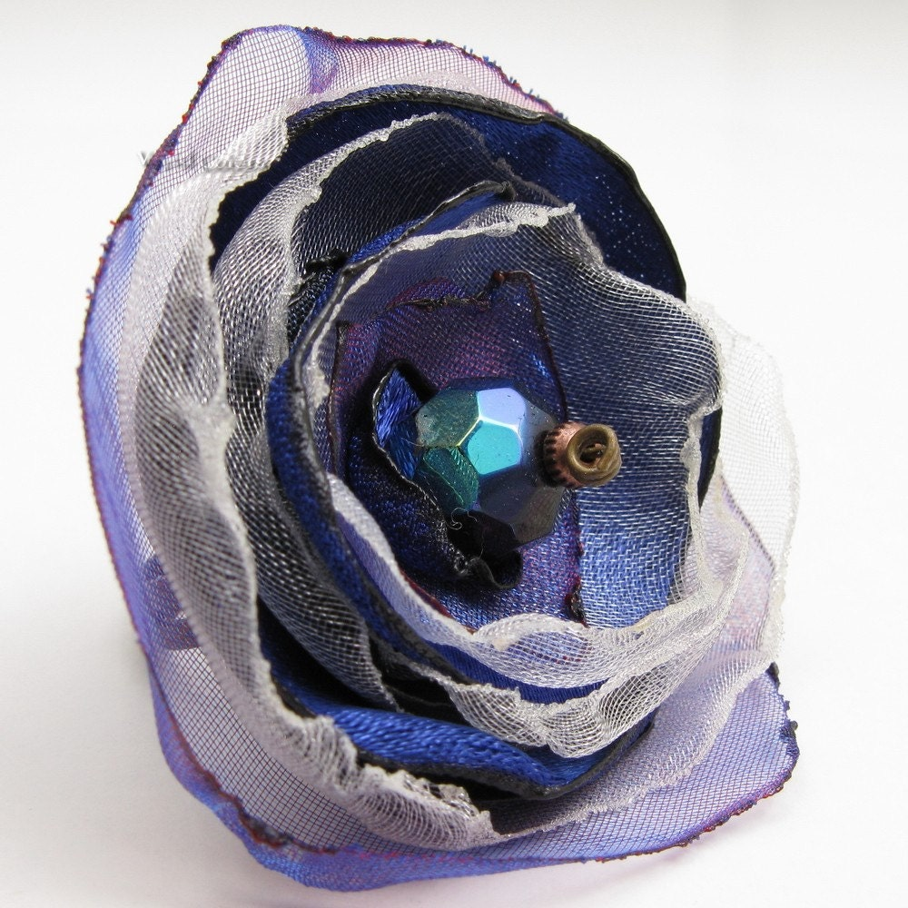 Starry Night FREE SHIPPING Night Blue Purple and Silvery White Satin and Organza Ring