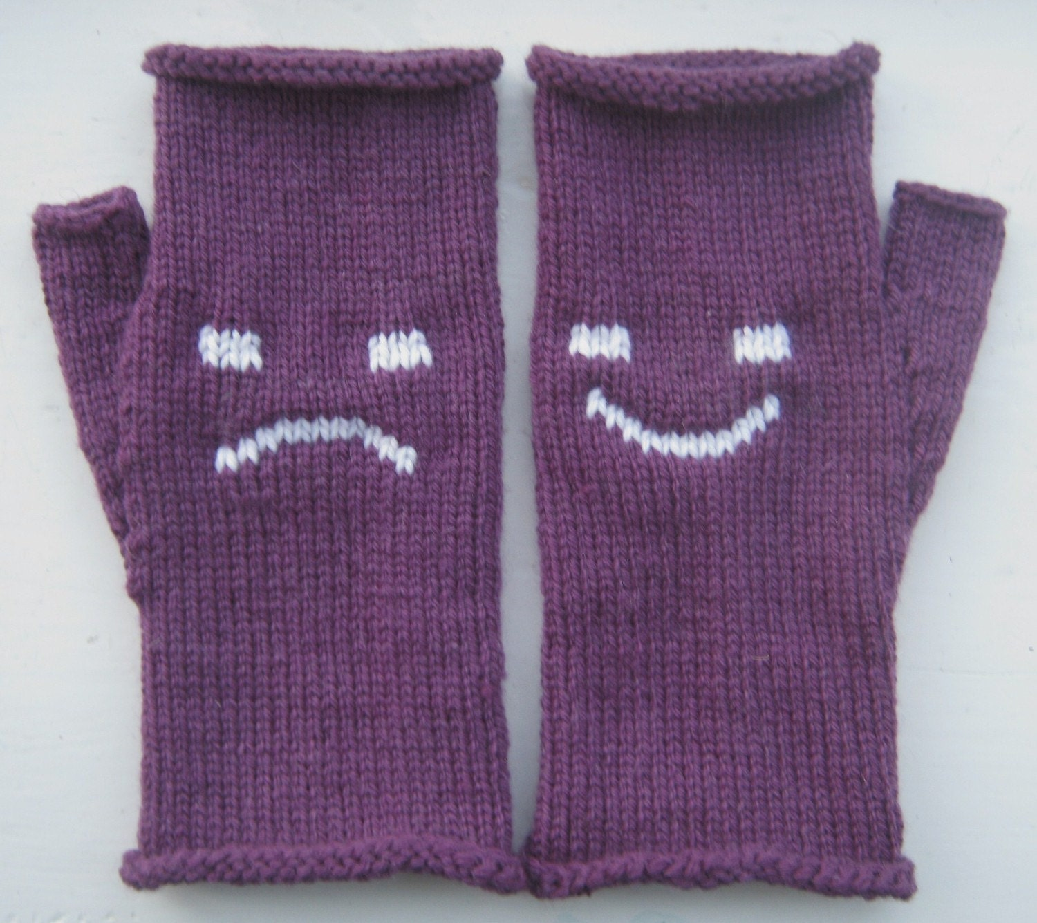 Happy and Sad Emoticon Fingerless Mittens / Gloves
