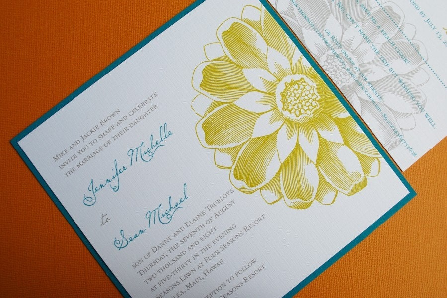 Garden wedding invitation set