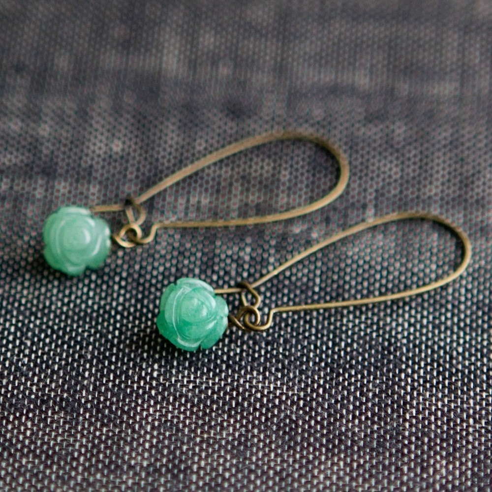 gracie brass earrings   .    aventurine green- SALE ITEM