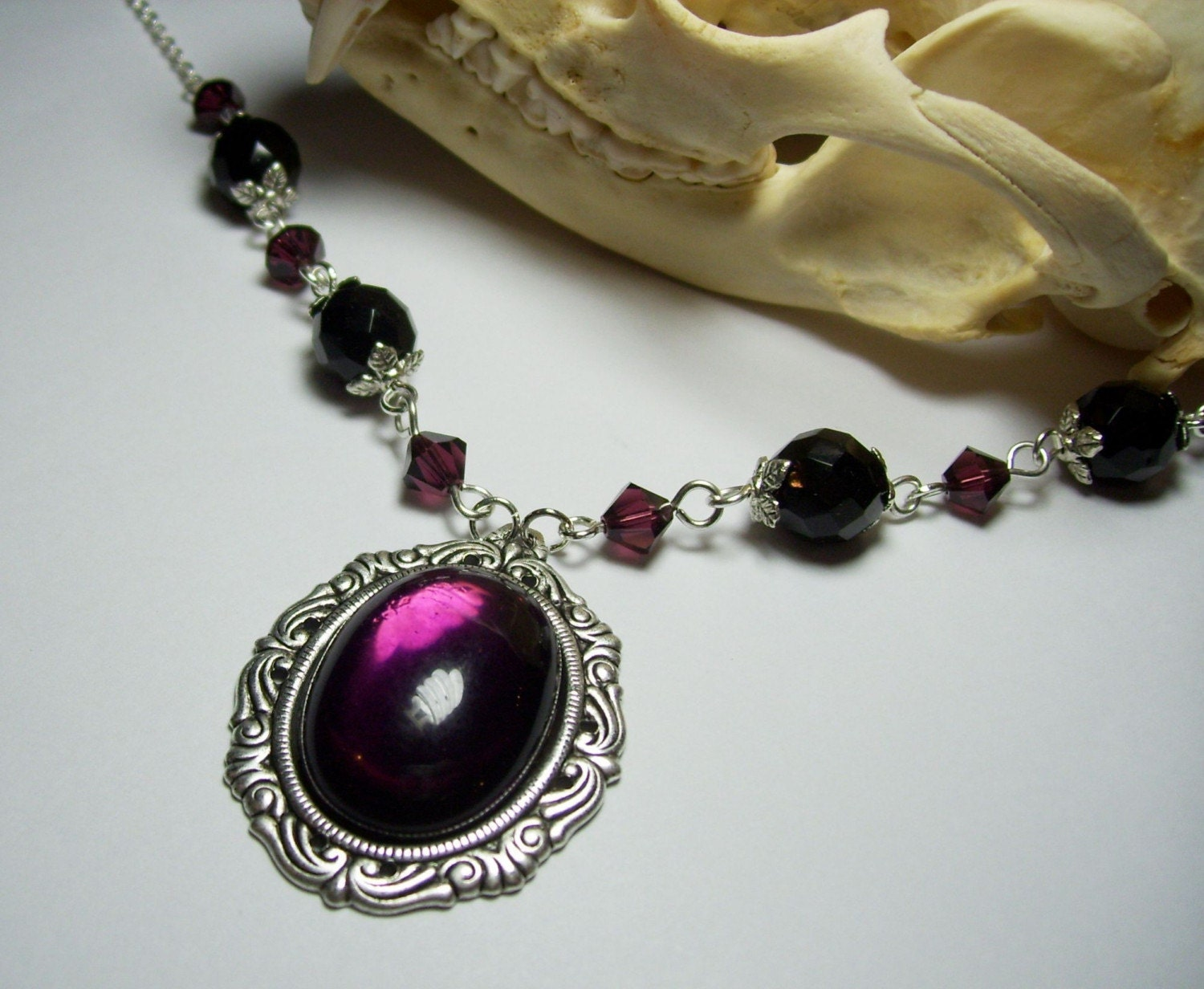 Beautiful Antique Silver Genuine Vintage German Glass Purple Amethyst  Cabochon Neo Victorian Steampunk Pendant Necklace