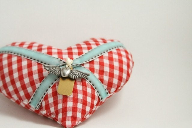 Red & white valentine heart with aqua ribbons and charms