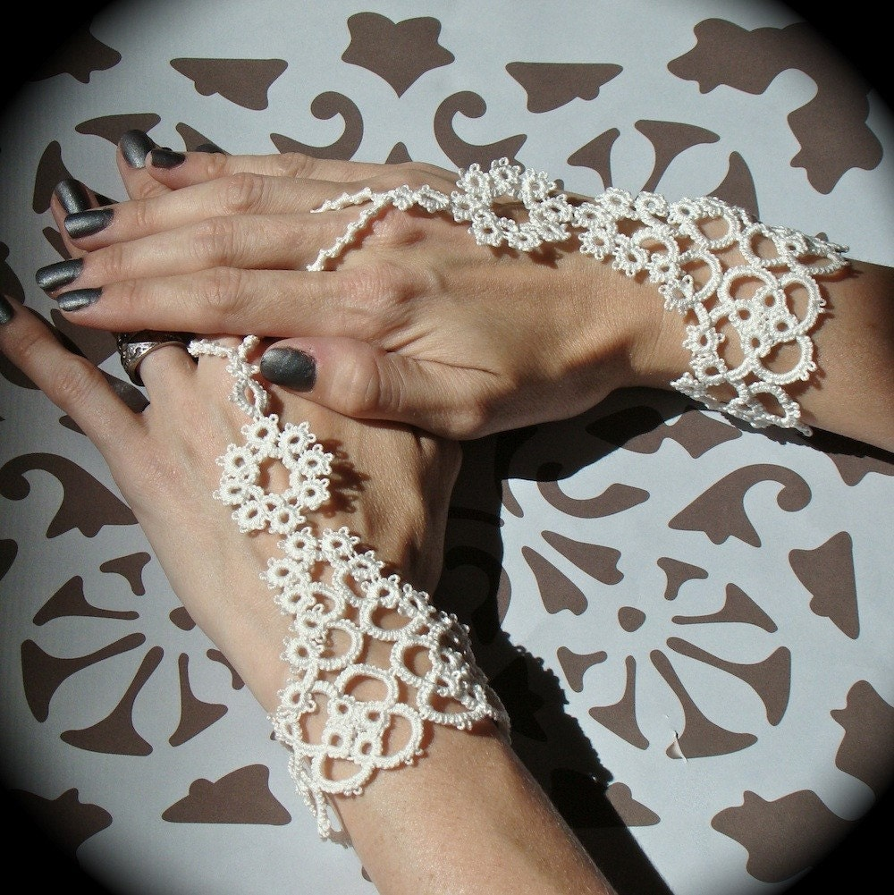 Slave For Love - Bridal Pair of Tatted Slave Bracelets - Custom Fit