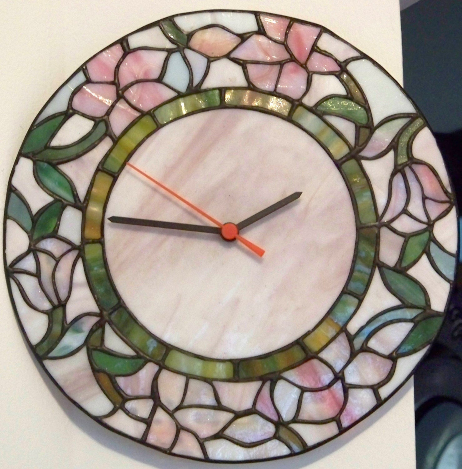 Vintage Wall Clock Tiffany Stained Glass Style By