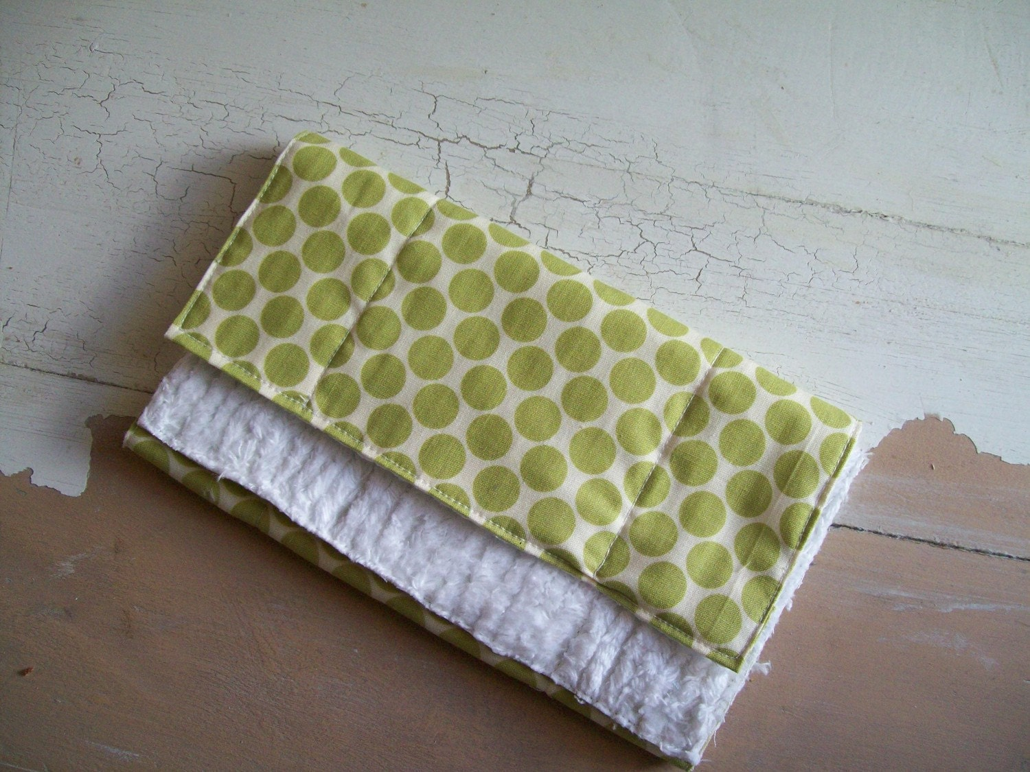 Green Polka Dot Burpee Cloth ALL PROCEEDS GO TOWARDS JAPAN RELIEF EFFORTS