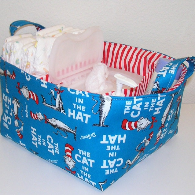 Dr. Seuss Blue Cat in the Hat Fabric Organizer Bin Basket Diaper Caddy ..... WITH Dividers
