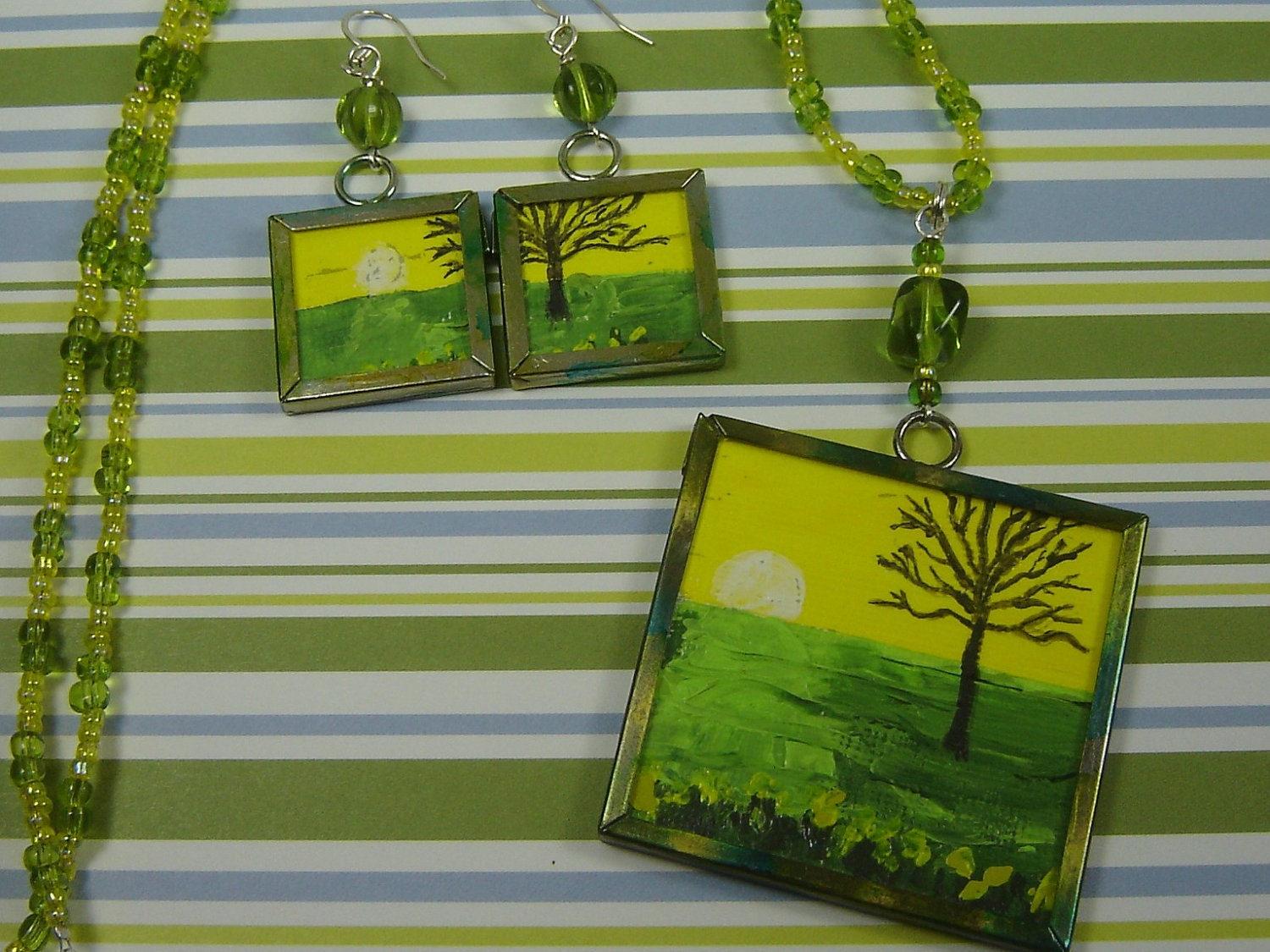 Mini Painting Pendant and Earrings Sunset on Bare Tree