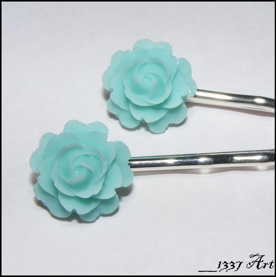 Handmade Weddings on Etsy - Something Blue - Rose Hair Pins (2 piece set) by 1337art
