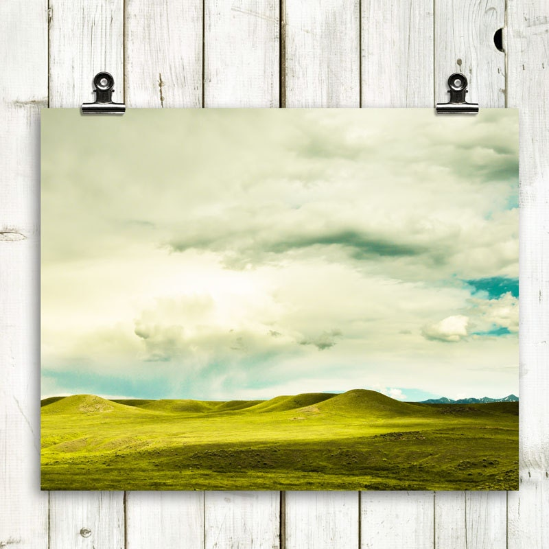 "landscape, green hills, large wal lart, wall art, photograph, modern home decor, green, white, grass green, decor - ""Rolling Hills of Green"" - MTPhotoJournal"