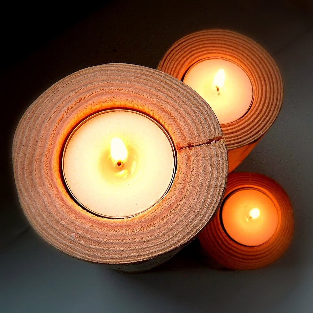 Rustic Blond Wood Candleholders set of three