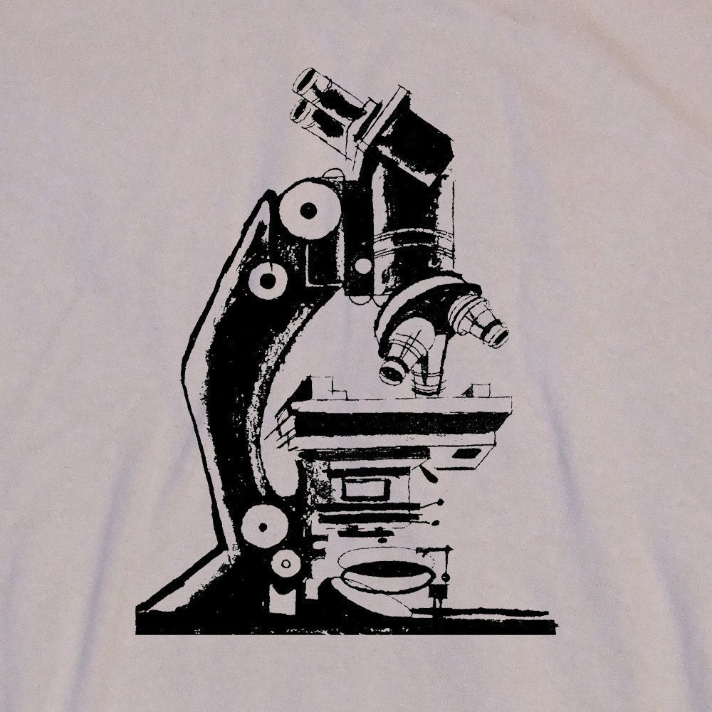 Old  School Microscope Graphic Illustration Screen Print Khaki Tan T-Shirt in  S, M, L, XL, XXL