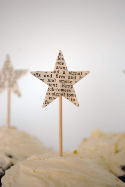 12 Star Cupcake Picks, ab Jahrgang Papier