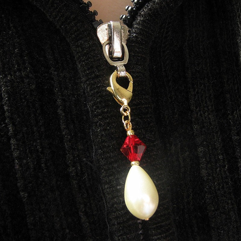 Handmade Pearl and Crystal Zipper Pull - Ruby