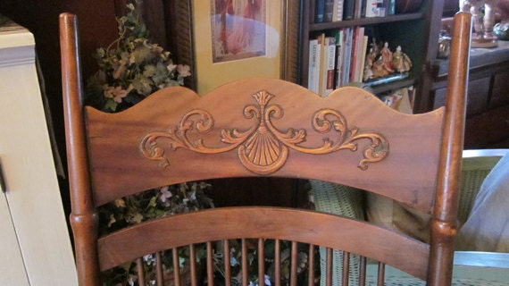 ... Cherry Wood Rocking Chair with Embossed and Pressed Back Design