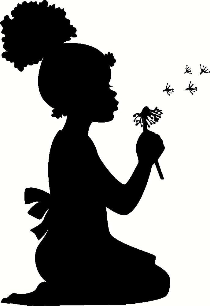 Girl Blowing Dandelion Wall Decal