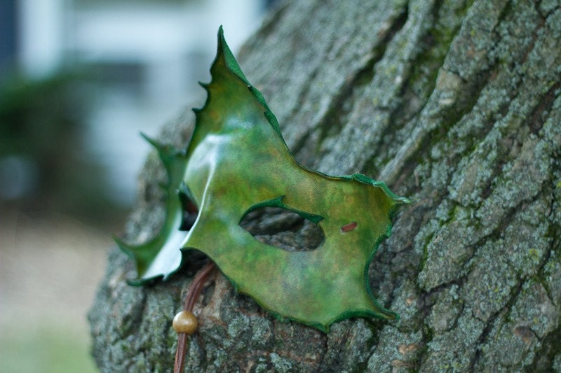 Forest Green Maple Leaf Handmade Leather Mask