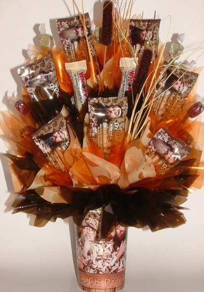 Duck dynasty candy bouquet centerpiece in a mason by