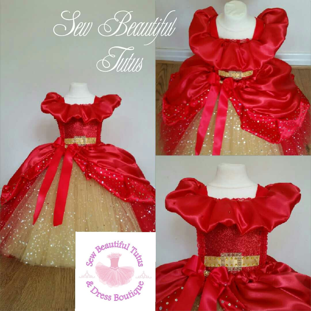 Elena of Avalor inspired Sparkle Ballgown tulle tutu dress  Girls Red  Gold Dress Fun Party Outfit Fancy Cute Birthday Princess