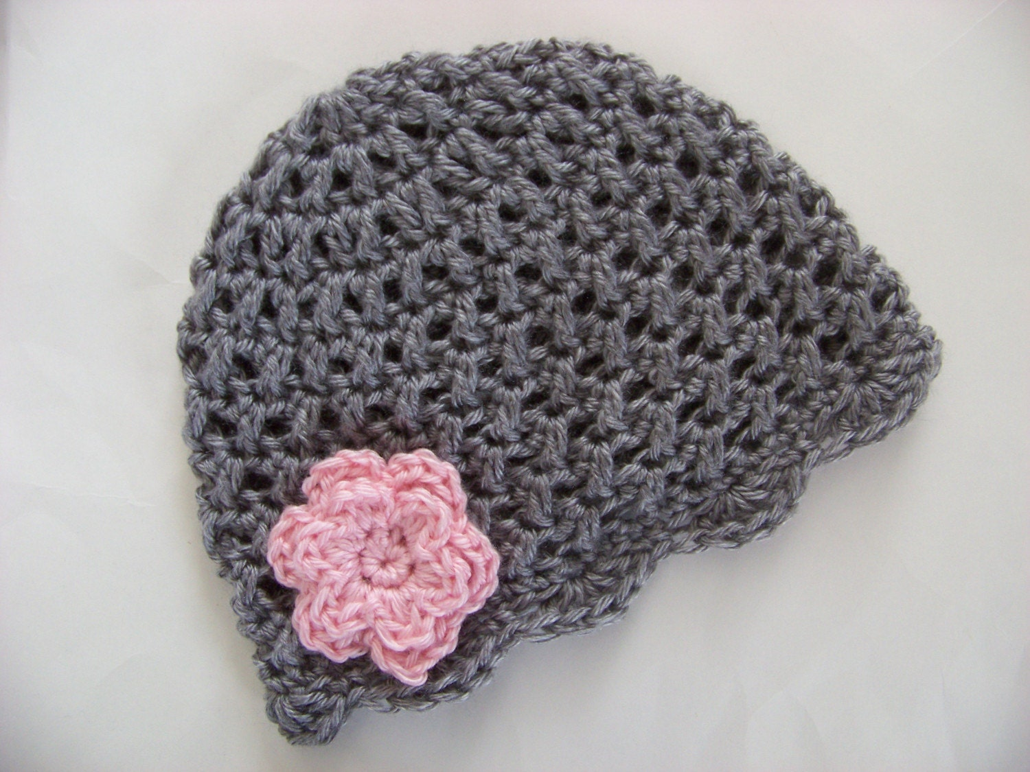 Baby Girl Crochet Beanie Hat Gray with Pink Flower