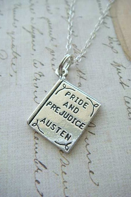LITERARY BOOK SERIES - PRIDE and PREJUDICE by AUSTEN - Sterling Silver Charm Hanging on a FREE Silver Plated 18 inch Chain