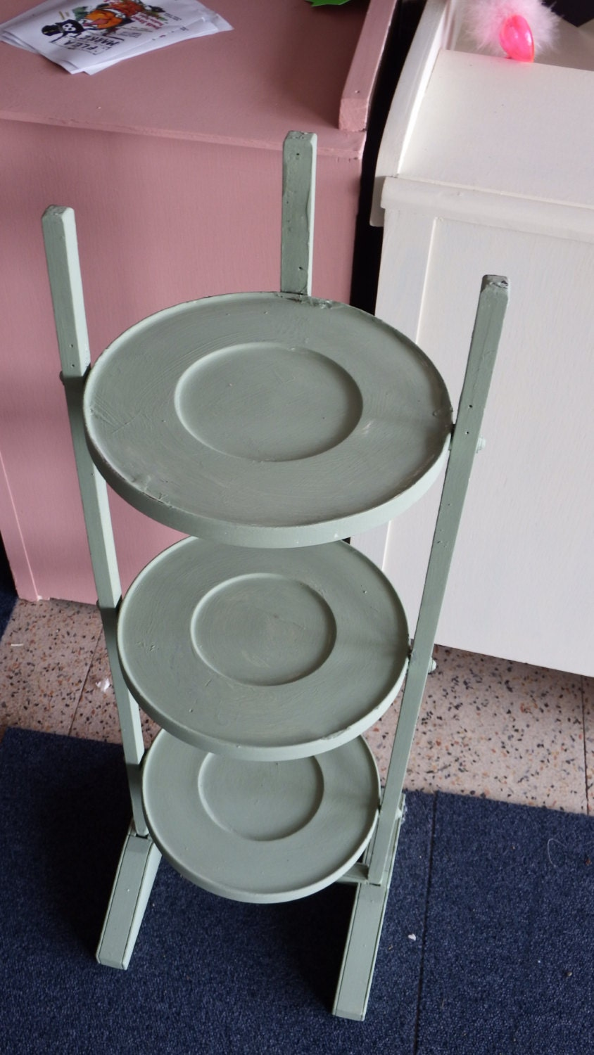 Three  tiered Shabby Chic Plant stand Hand painted 14