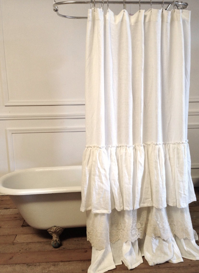 Bella Lace Ruffle Shower Curtain by FullBloomCottage on Etsy