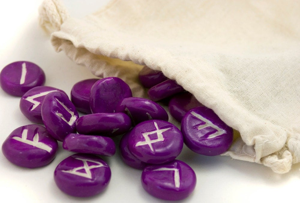 Polymer clay Rune set pick your color - elder futhark - bag and meaning sheet included - divination - amberhlynn
