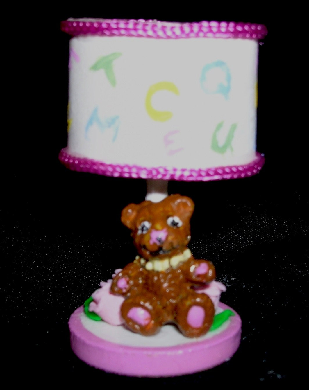 hand made baby girl 39 s nursery lamp with teddy by miniswithmusic. Black Bedroom Furniture Sets. Home Design Ideas