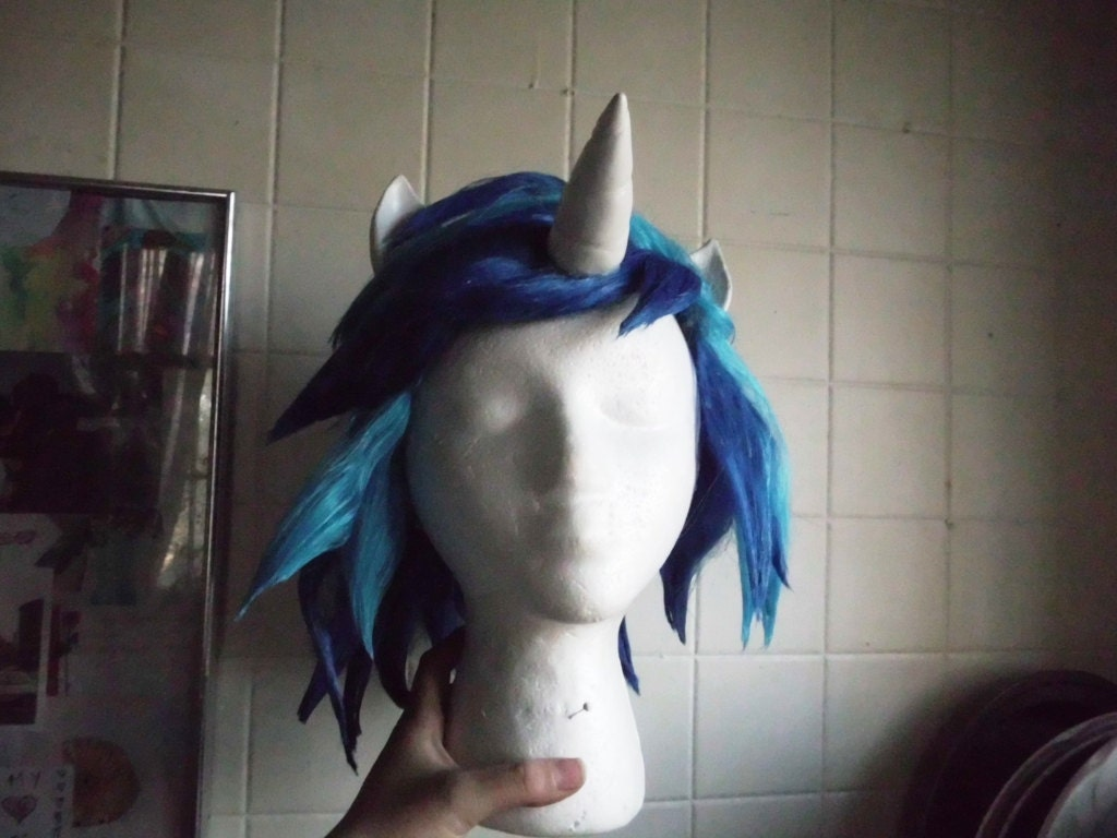 Unicorn Wig Scratch DJ Pon 3 Vinyl Wig Blue Unicorn Horn Costume Cosplay MLP Friendship is Magic