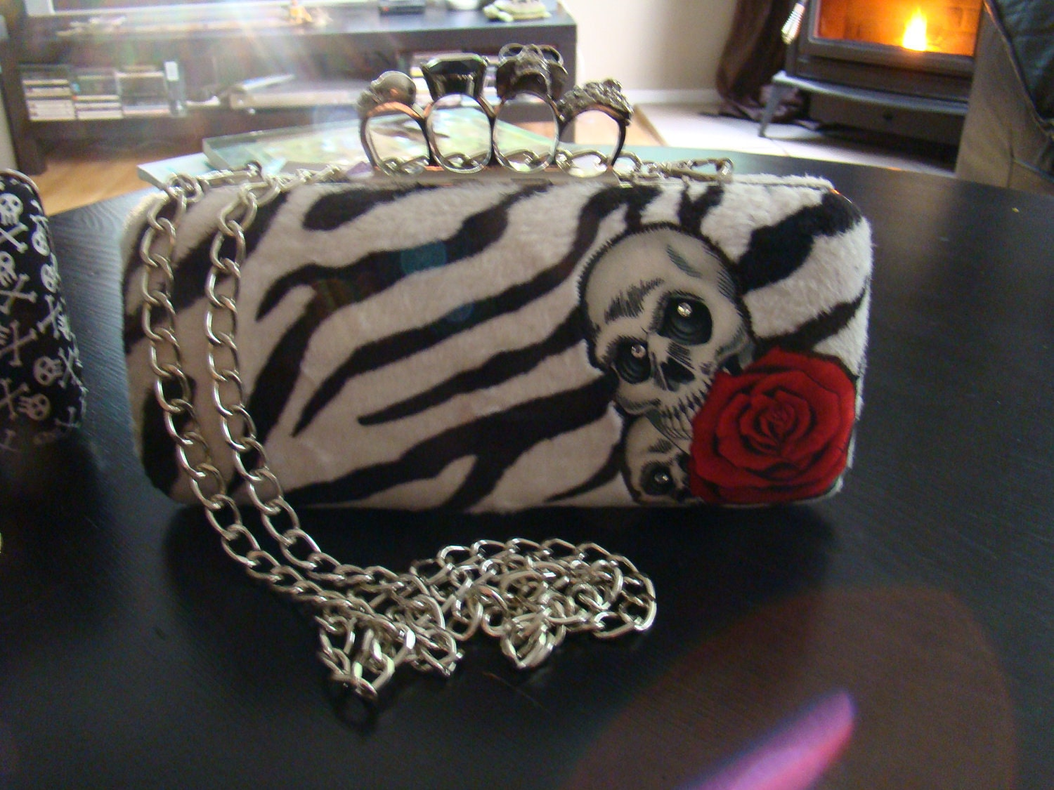 Skull knuckle clutch - Faux Zebra fur with skull and red rose applique