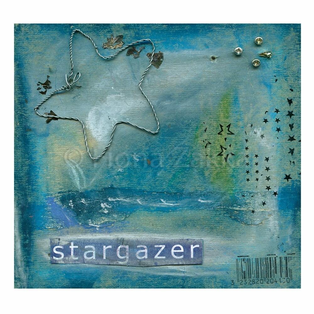 "Starry Sky Starry Night Art ""Stargazer"" Collage Mixed Media Fine Art Print inspirational art"