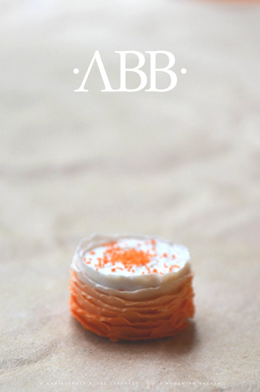 Bright Orange Ombre Cake with Sprinkles - 1:12 Scale Miniature - abohemianbazaar